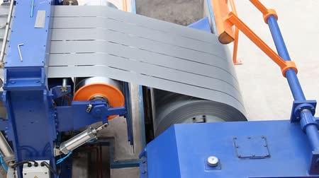 Slit steel sheet (silicon steel) parallel moving to take-up 影像素材
