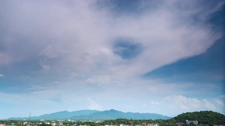 Cloud movement over the town and hill, time lapse 影像素材