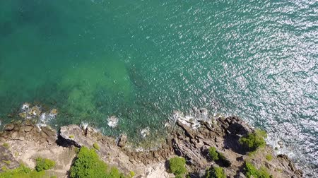 Aerial view from drone of Nang Phaya Hill Scenic Point and clear turquoise sea in Chanthaburi, Thailand