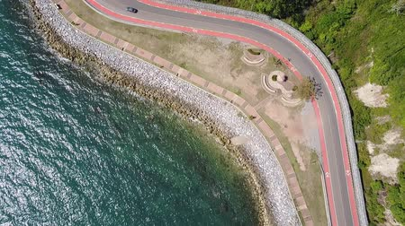 Aerial view from drone of coastal road to Nang Phaya Hill Scenic Point in Chanthaburi, Thailand