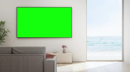 kabine : Sea view living room of luxury beach house with glass window and wooden floor. TV on white wall against sofa in vacation home or holiday villa. Hotel interior 3d illustration. Stok Video