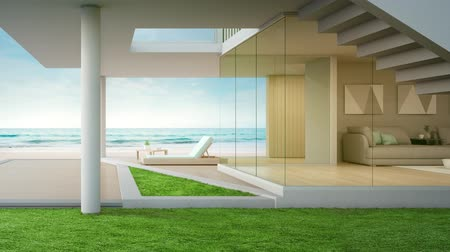 терраса : Luxury beach house with sea view living room and terrace in modern design. Empty wooden floor deck at vacation home or hotel. 3d illustration of contemporary holiday villa exterior.