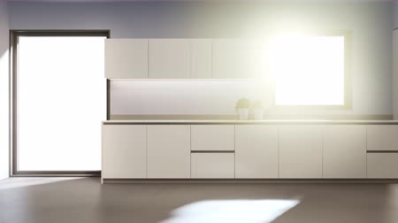 minimalizm : White clean counter and cabinet of modern kitchen in new house. Home interior decoration 3d rendering.