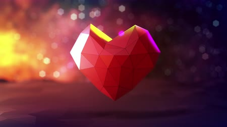 tecnológica : Loop animation 3d rendering of heart beat in love or medical concept. Geometric shape symbol with colorful abstract background.