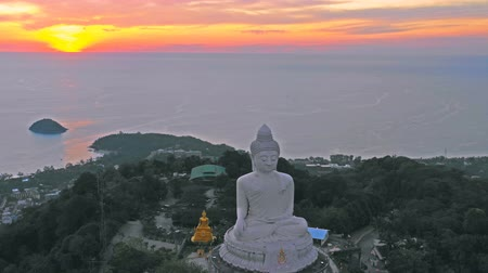 aerial view sunset at Phuket big Buddha is one of the island most important and revered  landmarks on Phuket island.
