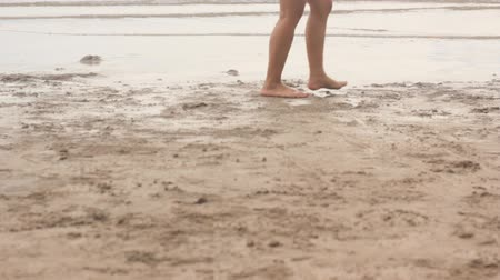 People walking on the beach by the sea. Stok Video