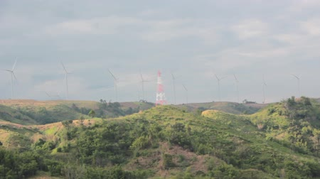 Wind turbines on mountain.