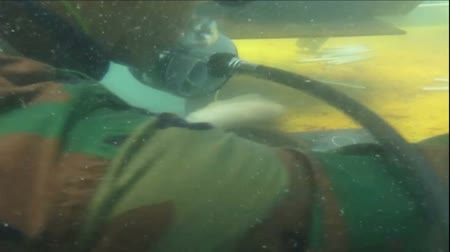 Welders were welding underwater. Stok Video