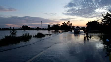 Road floods in the water season. Stok Video