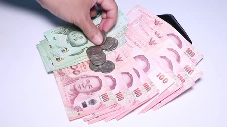 Money Thai, Banknote and Coins Wideo