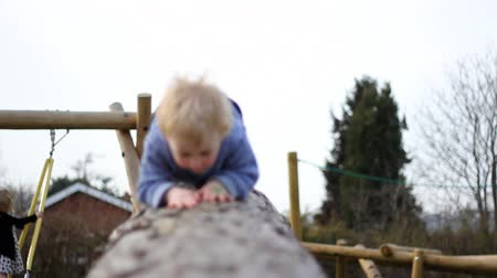 A child climbs on a log in a park