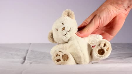 Studio shot of a Teddy Bear being manipulated by a mans hand