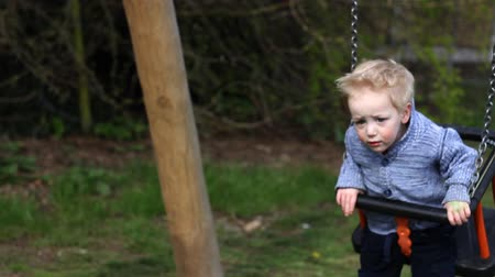 Child plays on a swing in a park