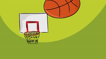 abroncs : Loopable cartoon of basketballs missing the hoop