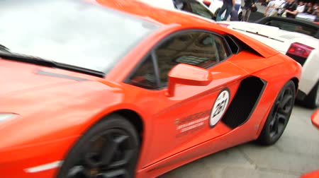 auto show : Lamborghini supercar parked during show in Bologna, Italy