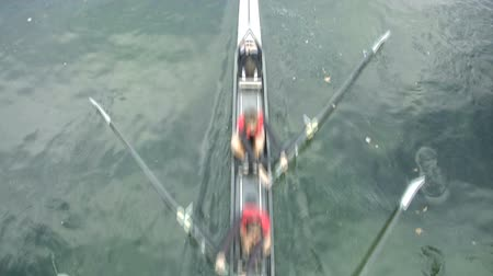 atletismo : Rowers training in small canal in Milan, Italy  Stock Footage