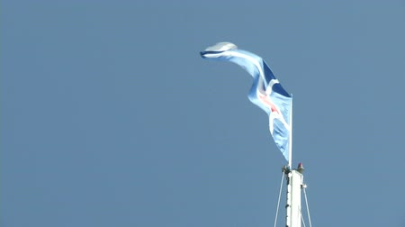 prestigious : Flag of Yacht Club Costa Smeralda, one of the most prestigious yacht club in the world, in Porto Cervo, Sardegna, Italy