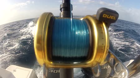 fly fish : Detail of fishing reel used on a boat during a competition