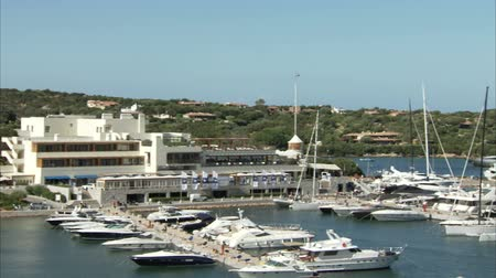 prestigious : Panoramic view of the marina in Porto Cervo during Perini Navi Cup Stock Footage