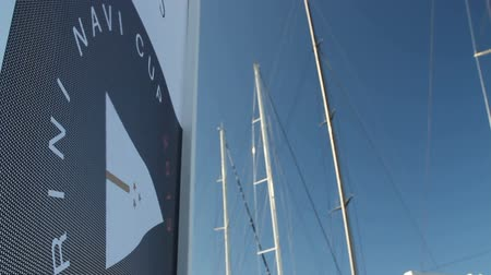 prestigious : Perini Navi Cup flags wave during Perini Navi Cup on August 30 2013 in Porto Cervo Italy Stock Footage
