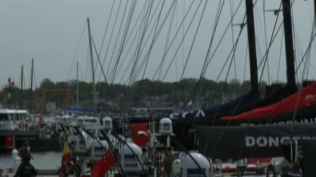 wyscigi : Volvo Ocean Race sailing boats docked on May 16, 2015 in Newport, RI, USA
