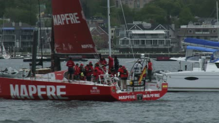 rhode : Mapfre sailing team gets ready for duringurging port race Volvo Ocean Race in Newport bay on May 16, 2015 in Newport, RI, USA
