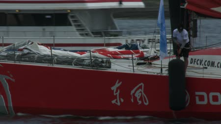 rhode : Dongfeng sailing gets ready for the team in port race on May 16, 2015 in Newport, RI, USA