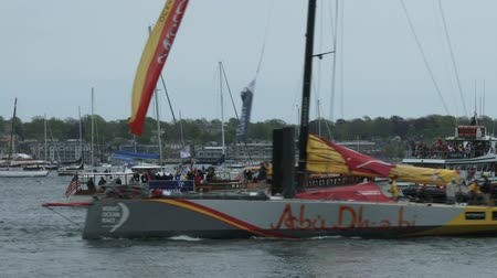 rhode : Abu Dhabi gets ready for sailing teams in port race on May 16, 2015 in Newport, RI, USA Stock Footage