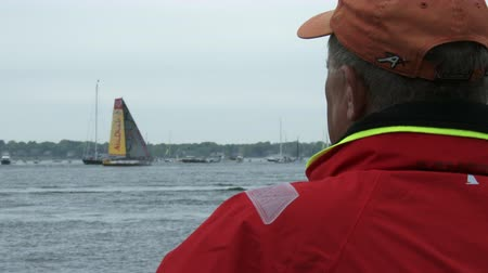 rhode : Abu Dhabi sailing team races during the Volvo Ocean Race in Newport bay on May 16, 2015 in Newport, RI, USA Stock Footage