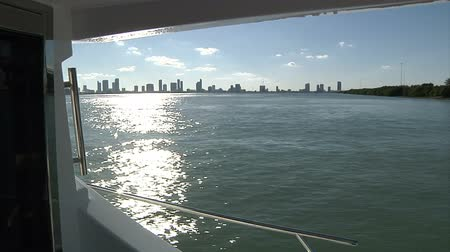 mariner : On board the view of a luxury yacht navigating in front of Miami
