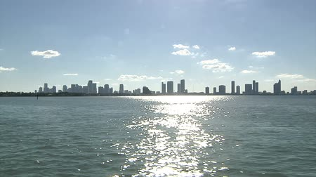 mariner : Miami skyline seen from a boat navigating Stock Footage