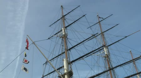 greenwich : Masts of old ships outside the Royal Museum of Greenwich Stock Footage