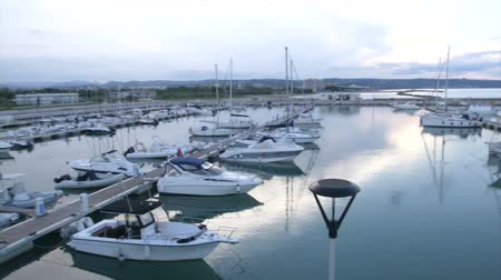 recentemente : Panoramic view of Marina Sveva, a recently built navy in Montenero di Bisaccia, Italy at sunset