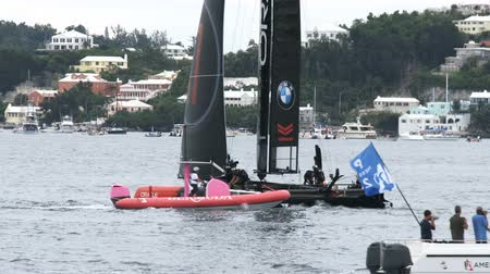 yat yarışı : Americas Cup AC45 wingsail catamaran getting ready for regatta in Hamilton, Bermuda, during Americas Cup sailing series