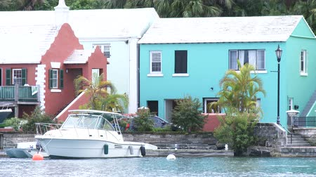 dockyard : Boat docked in small bay in Flatts Village, Bermuda
