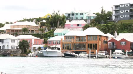 Boats docked in small bay in Flatts Village, Bermuda