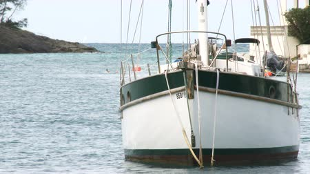 dockyard : Sailing boat docked in small bay in Flatts Village, Bermuda