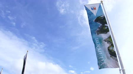 bermudas : Flags waving during the Americas Cup World Series in Bermuda Stock Footage