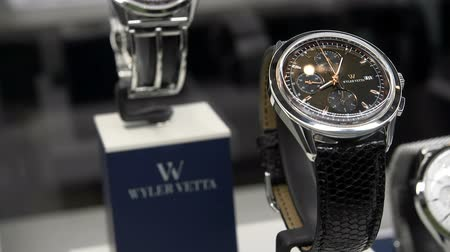 Watches exhibited at Wyler Vetta booth at Baselworlds watches and jewelry show in Basel, Switzerland.