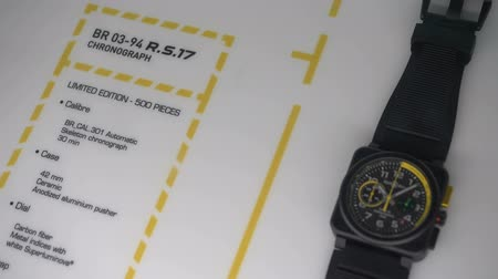 дисплей : Technological chronograph exhibited at the Bell and Ross booth at Baselworlds watches and jewelry show in Basel, Switzerland. Стоковые видеозаписи