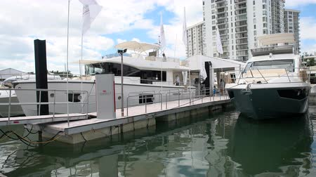 water show : Yachts docked in Miami during Miami International Boat Show in 2014