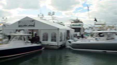 mariner : Fast sport boat docked in Miami during Miami International Boat Show in 2014 Stock Footage