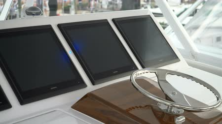 Detail of cockpit on a luxury fishing boat docked in Miami during Miami International Boat Show