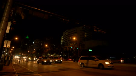 uses : Busy road at night in downtown Miami