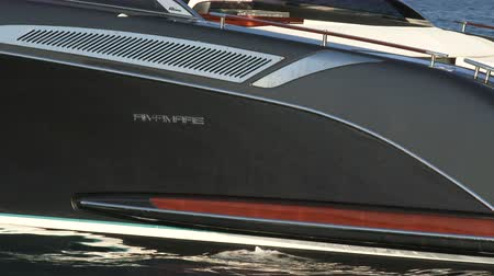 mükemmellik : Detail of luxury Riva boat anchored during a Cannes yachting festival Stok Video