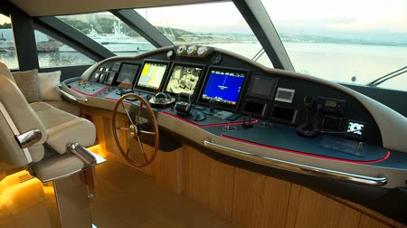 Futuristic control area of ??a mega yacht luxury Wideo