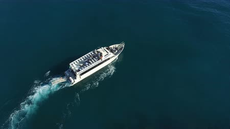 Aerial view of a ferry transporting passengers off the coast of Amalfi, Italy