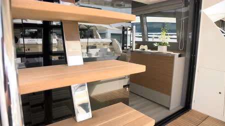 mariner : Stairs bringing to the upper deck of a luxury yacht Stock Footage