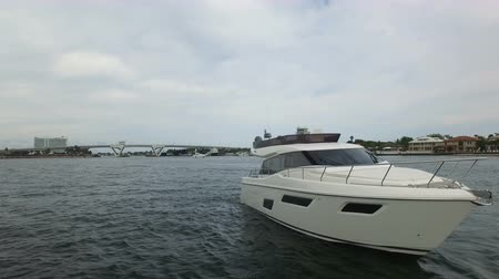 mükemmellik : Luxury yacht docked in a canal in Fort Lauderdale, Florida Stok Video