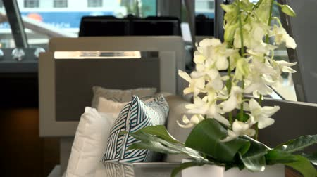 mariner : Interior decoration on a luxury yacht docked in Miami, Florida Stock Footage